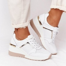 2021 New Women Sneakers Lace-Up Wedge Sports Shoes Women's Vulcanized Shoes Casual Platform Ladies S