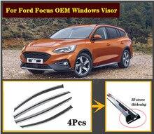 4 pièces ensemble 2007-2020 OEM pour Ford Focus en acier inoxydable fenêtre visière ombre Vent pluie déflecteur gardes couverture