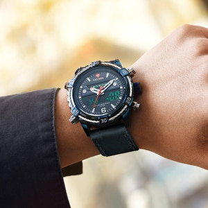 Luxury Brand Mens Watches Fashion Military Stainless Steel Leather Strap Chronograph Analog Sport Male Digital Quartz Wristwatch