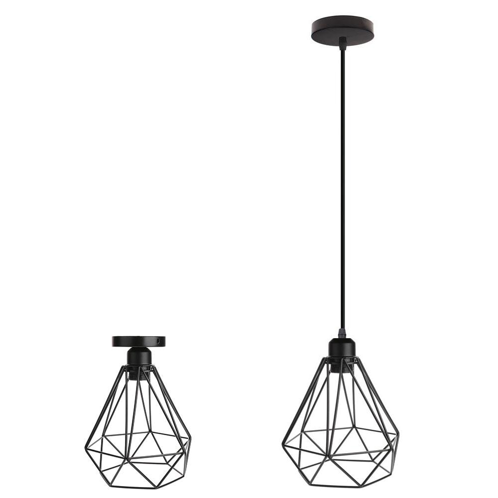 Metal Wire Iron Lampshade Retro Chandelier Vintage Lamp Cage HangLamp Black Fashion Bedroom Romantic Parlor
