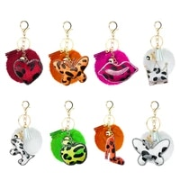 creative keychain small gift rhinestone leopard print flannel unique heart shaped butterfly shape 8cm pompom hair ball pendant