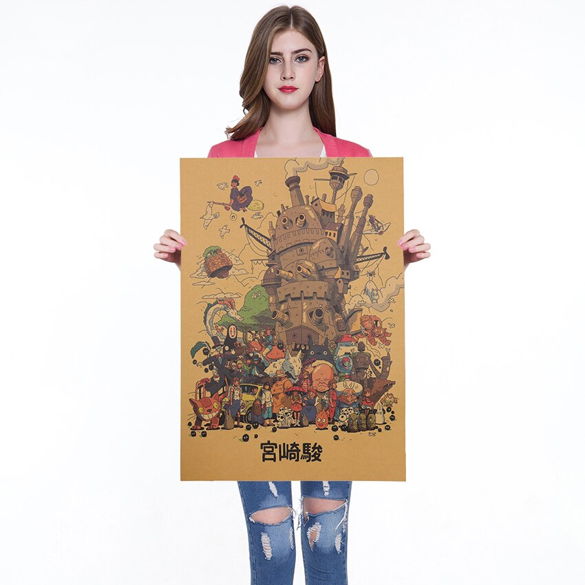 Мультфильм Хаяо Миядзаки коллекция классические плакат для кафе баров Украшения для кухни из крафт-бумаги Бумага плакат фоновая фотография в стиле ретро наклейки 50x35 см