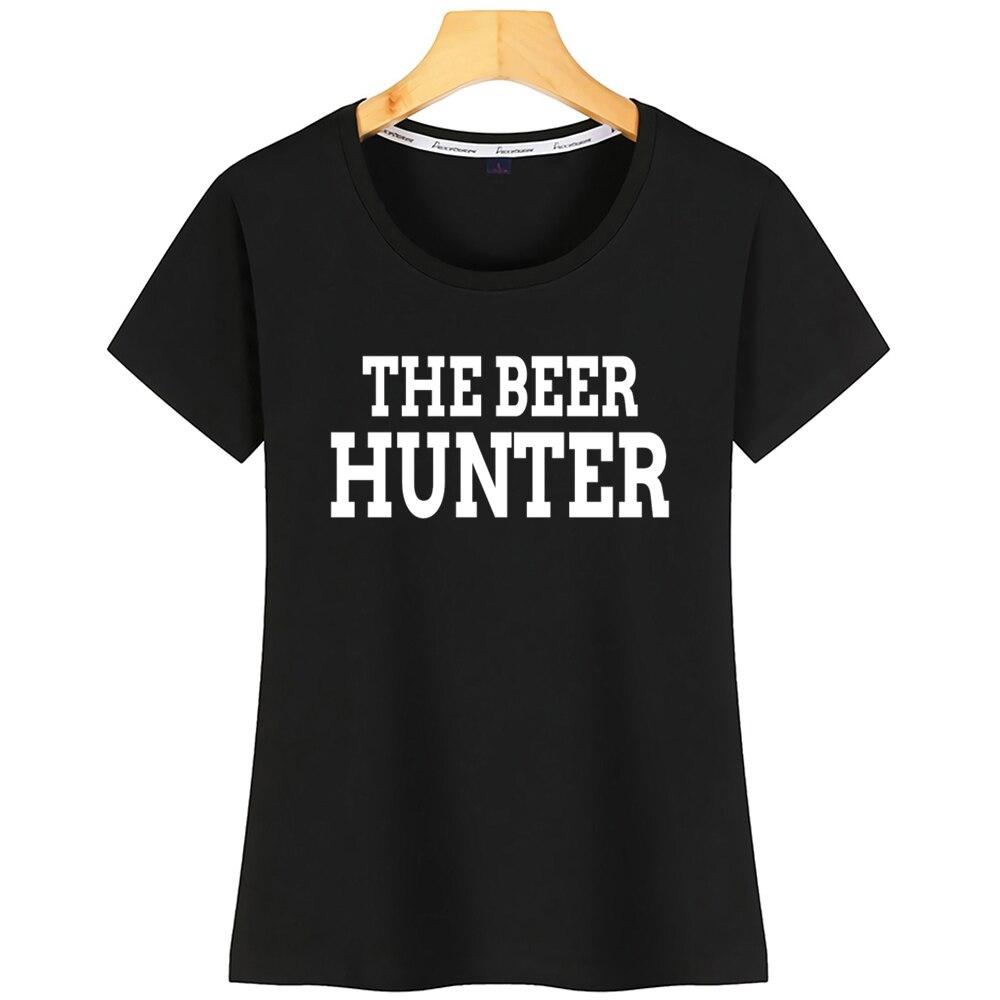 Topos Camiseta Mulheres O Beer Hunter Engraçado Camiseta De Algodão Branco