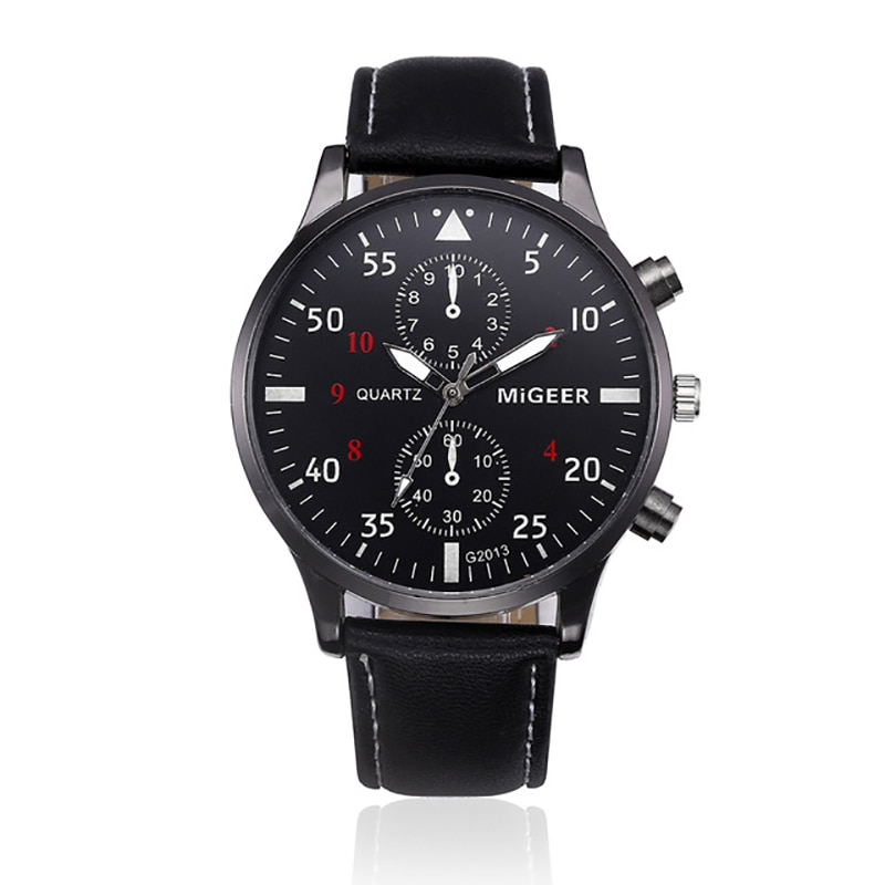 Men's Quartz Watch Retro Fashion Sports Chronograph Leather Strap Waterproof Top Men's Quartz Watch