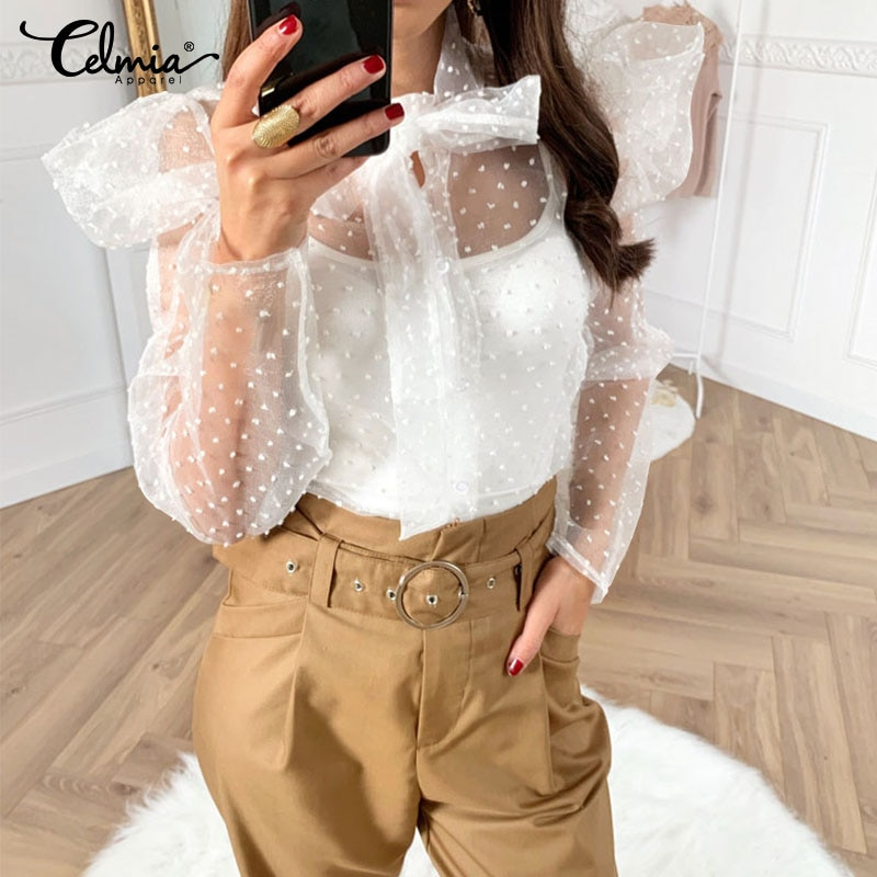Celmia Sexy Mesh Sheer Tops mujeres moda blusas blancas 2020 verano manga larga arco cuello suelta Casual Ruffles camisa femenina 5XL