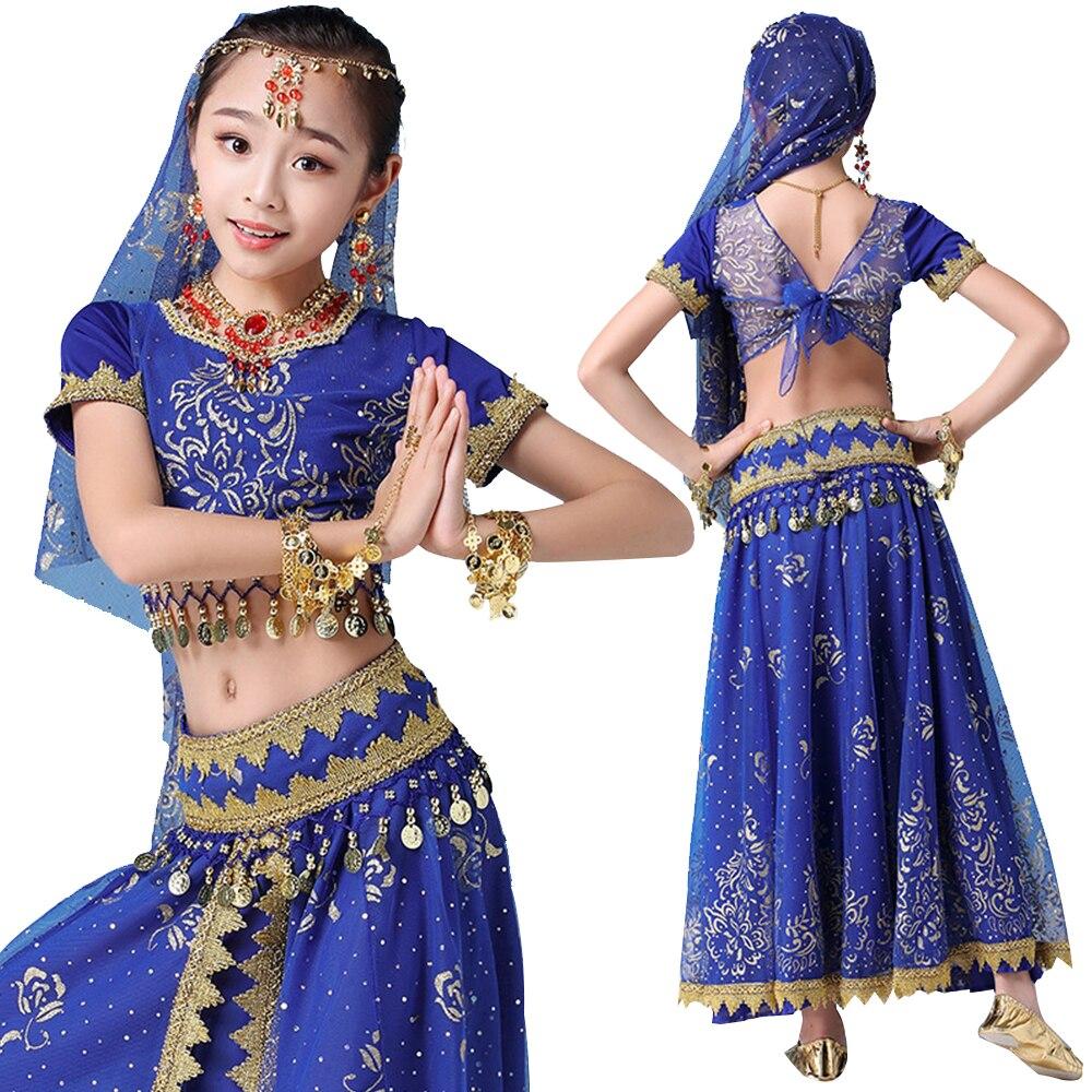 زي بوليوود ساري للأطفال ، نمط جديد ، ملابس رقص شرقي هندية ، حزام ، تنورة ، غطاء رأس ، ملابس أداء للأطفال