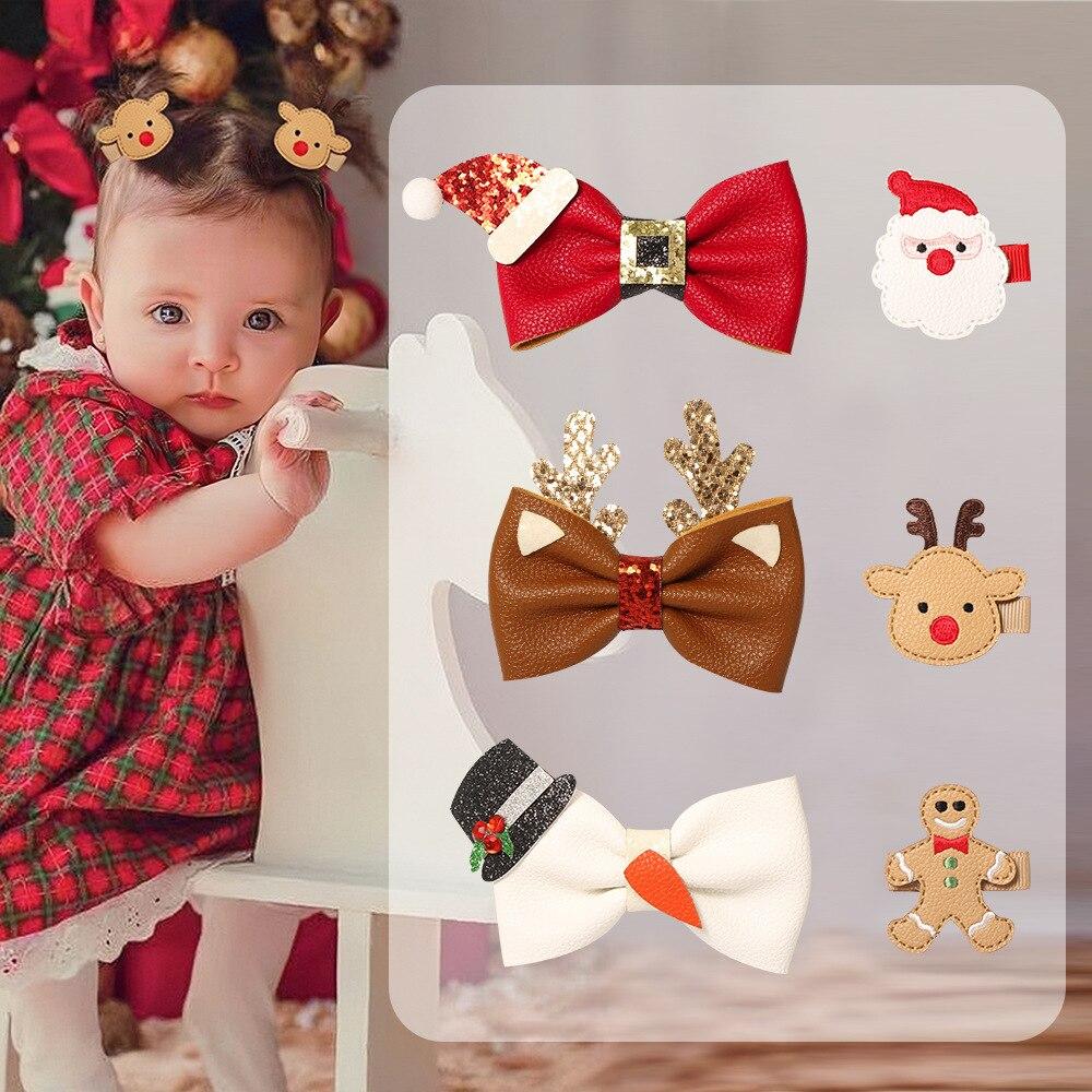 Новые рождественские заколки для волос, заколки, детские заколки для волос, детские заколки для волос для девочек, головные уборы, рождестве...