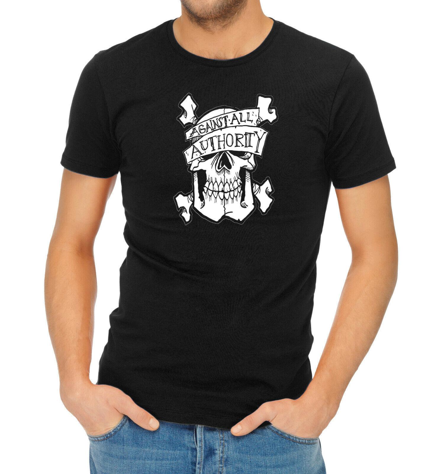 Camiseta con Logo de calavera contra todas las autoridades