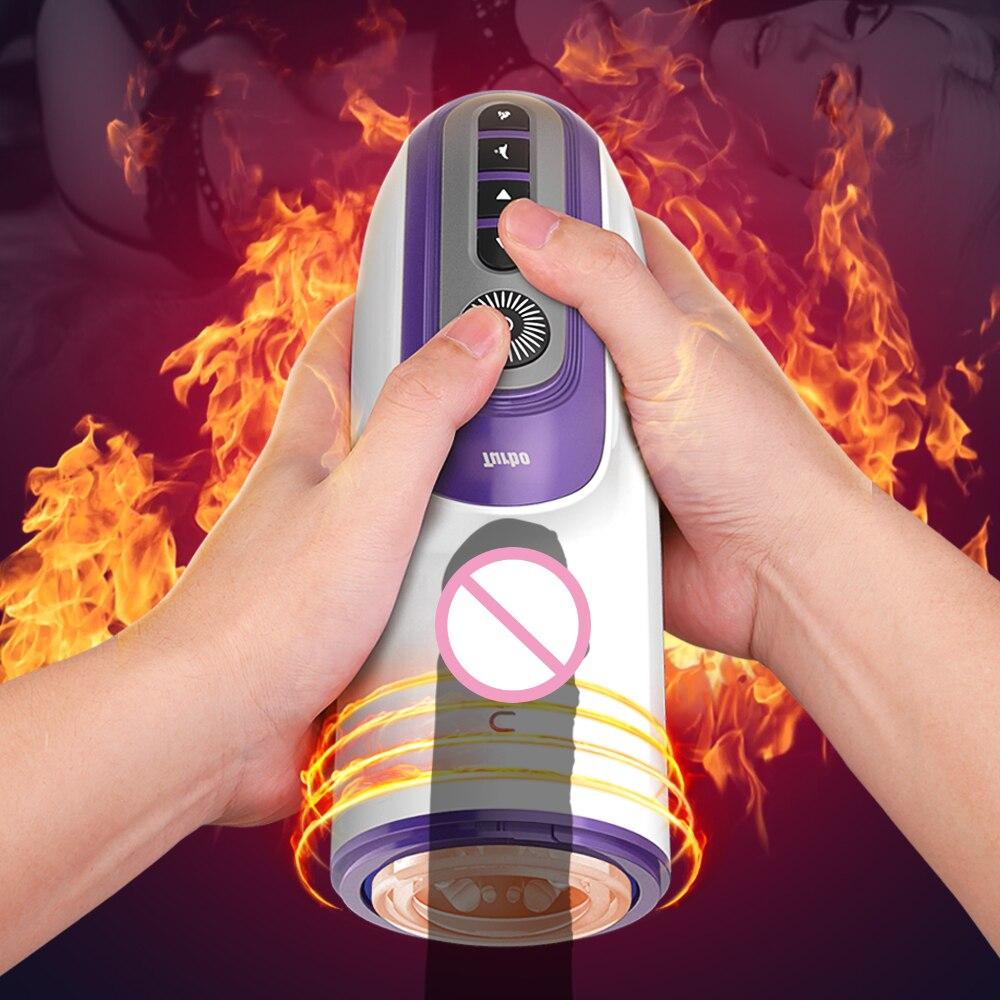 2021 Automatic Thrust Telescopic Male Masturbator Sucking Heating Masturbation Cup Interactive Voice Real Vagina Sex Toy for Men
