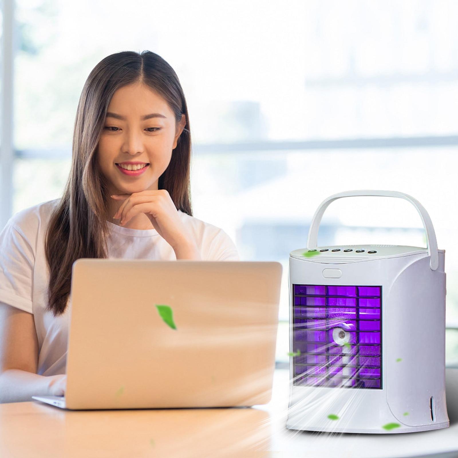 2021 جديد USB صغير مبرد الهواء المحمول مروحة سطح المكتب مكتب تكييف الهواء مروحة الصيف USB شحن البخاخ المرطب مروحة