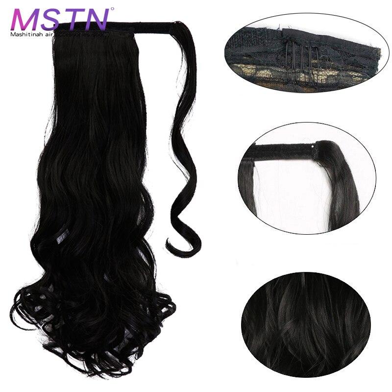 Mstn moda feminina rabo de cavalo extensões de cabelo longo em linha reta/encaracolado envoltório em torno do grampo em extensões de cabelo rabo de cavalo headwear