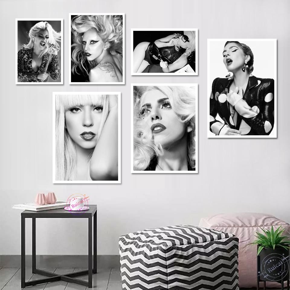 Lady Gaga-Póster Pop de cantante estrella cuadro sobre lienzo para pared, imágenes...