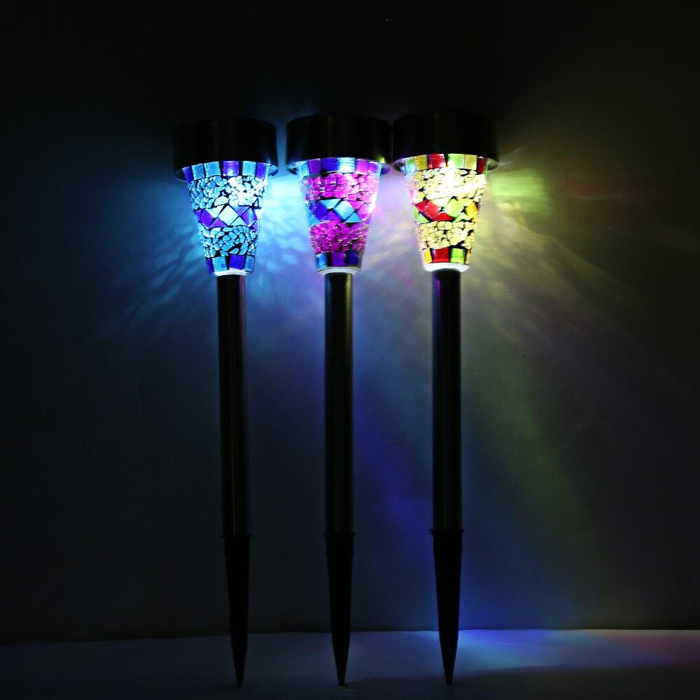 Luces de energía Solar, 3 piezas, mosaico para exteriores, LED de acero inoxidable, lámpara portátil de emergencia, lámpara moderna para jardín, decoración de lámparas, iluminación