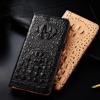 cowhide genuine leather case for oppo a92s a53 a32 a53s a15 a15s a93 a55 a94 a54 a74 crocodile black texture magnetic flip cover