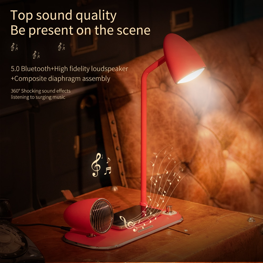 Portable Bluetooth Speaker 15W Qi Fast Wireless Charger Stand for IPhone 11 12 X for Huawei Samsung S20 with LED Desk Lamp enlarge