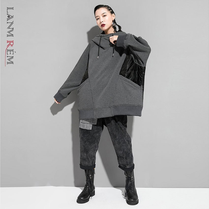Lanmrem pode shiptide espessura hit cor retalhos hoodies para a moda feminina roupas oversize bat moletom personalidade yh830