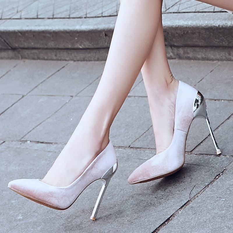 2021 spring women's pumps New Velvet Pointed High Heel Metal Thin Heels Sexy Shallow Mouth single shoes woman sandals mujer 10cm