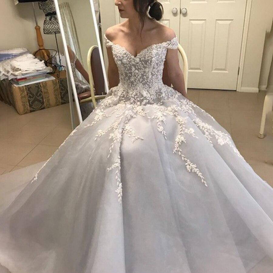 Vestido de novia gris de Organza con hombros descubiertos, vestidos de novia...
