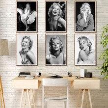 Marilyn Monroe-affiche de peinture en toile dart   Vintage noir et blanc, célèbre Star Movie, affiche murale de décoration pour la maison