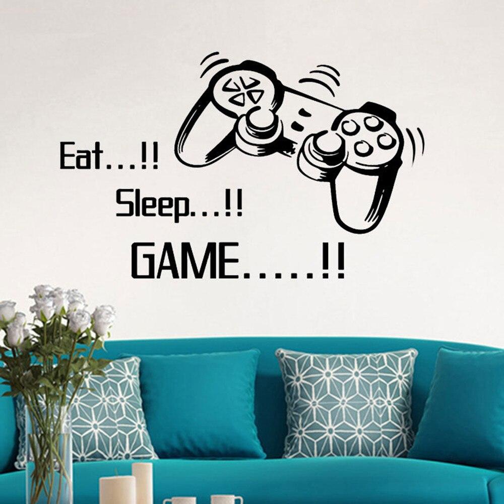 Eat Sleep Game letras vinilo adhesivo para pared Joystick Gamepad Gamer pared arte diseño calcomanía Teen Kids Room mural