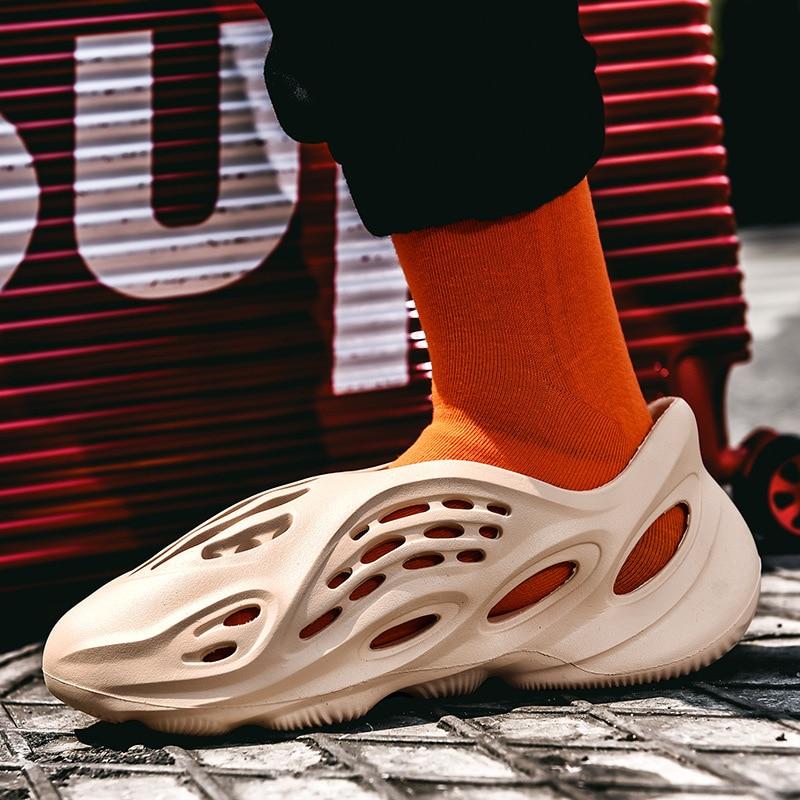 summer men sandals breathable beach shoes hook 2021 Summer Men Sandals Fashion Hollow Breathable Casual Couple Beach Shoes Roman Sandals Luxury Designer Men Women Hole Shoes