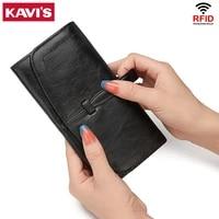 kavis leather long womens wallet female fashion zipper coin purses luxury designer card holder clutch ladies money bags black
