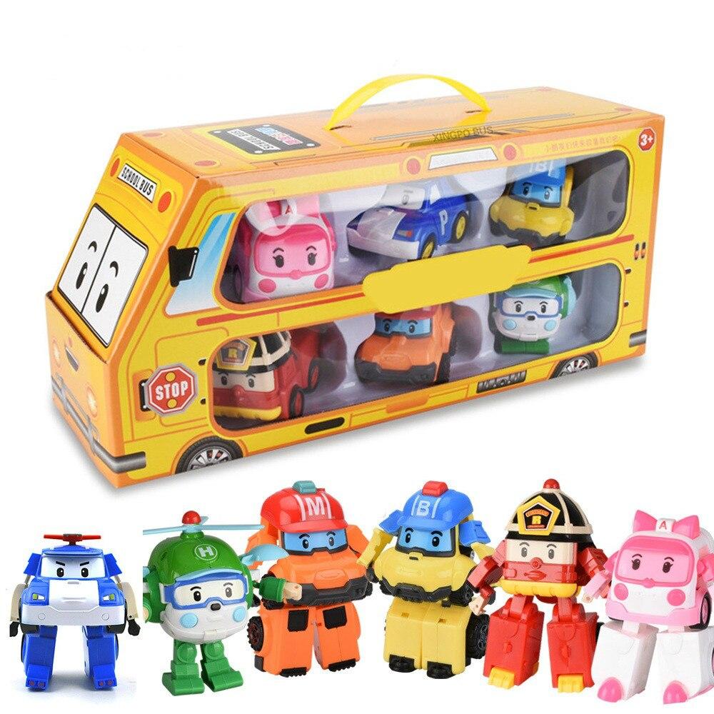 Set of 6 Pcs Poli Car Kids Robot Toy Transform Vehicle Cartoon Anime Action Figure Toys for Children Gift Juguetes