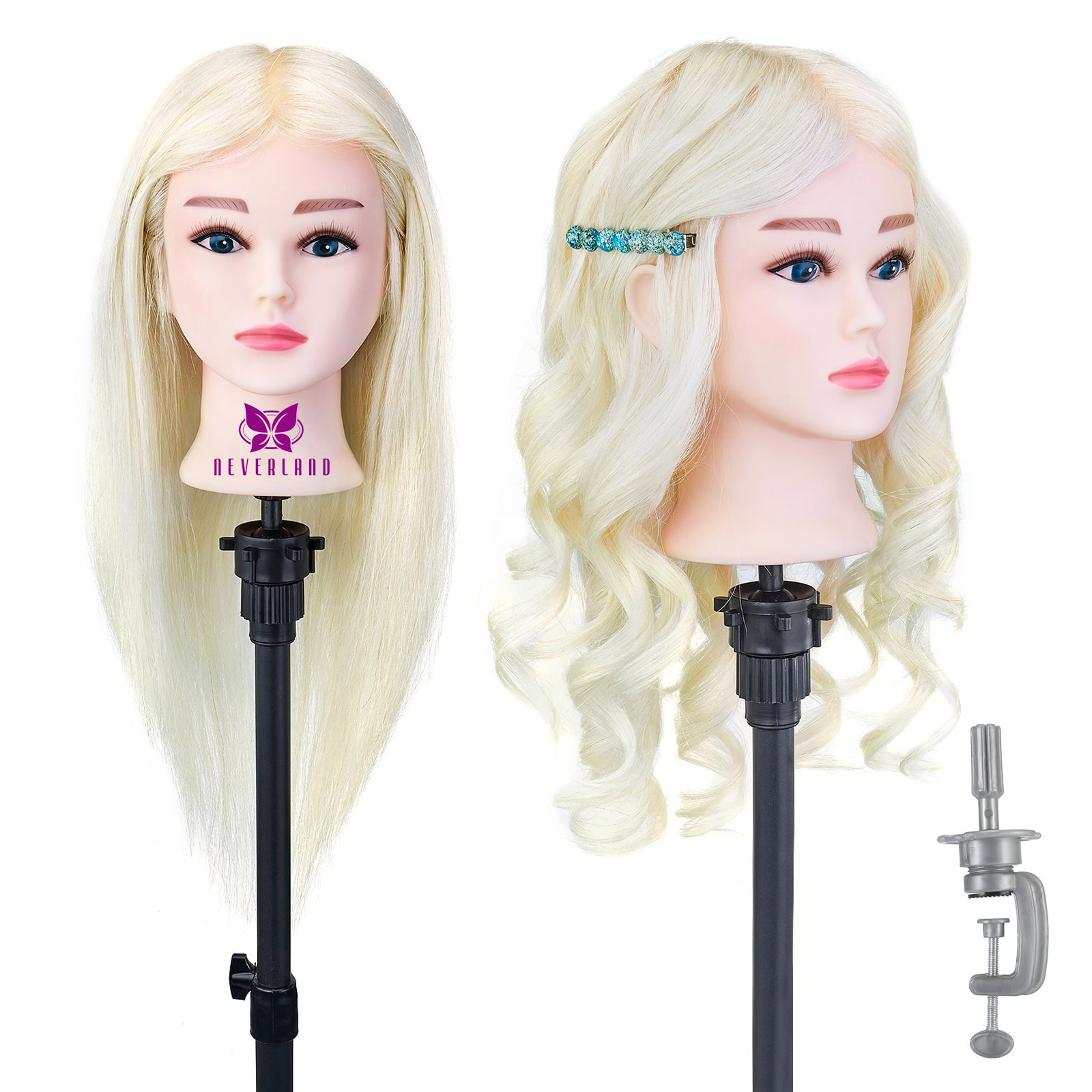 100% Real Human Hair for Hairstyles Hairdressing Mannequin Head Hairdressers Curling Dyeing Practice Training Head with Stand