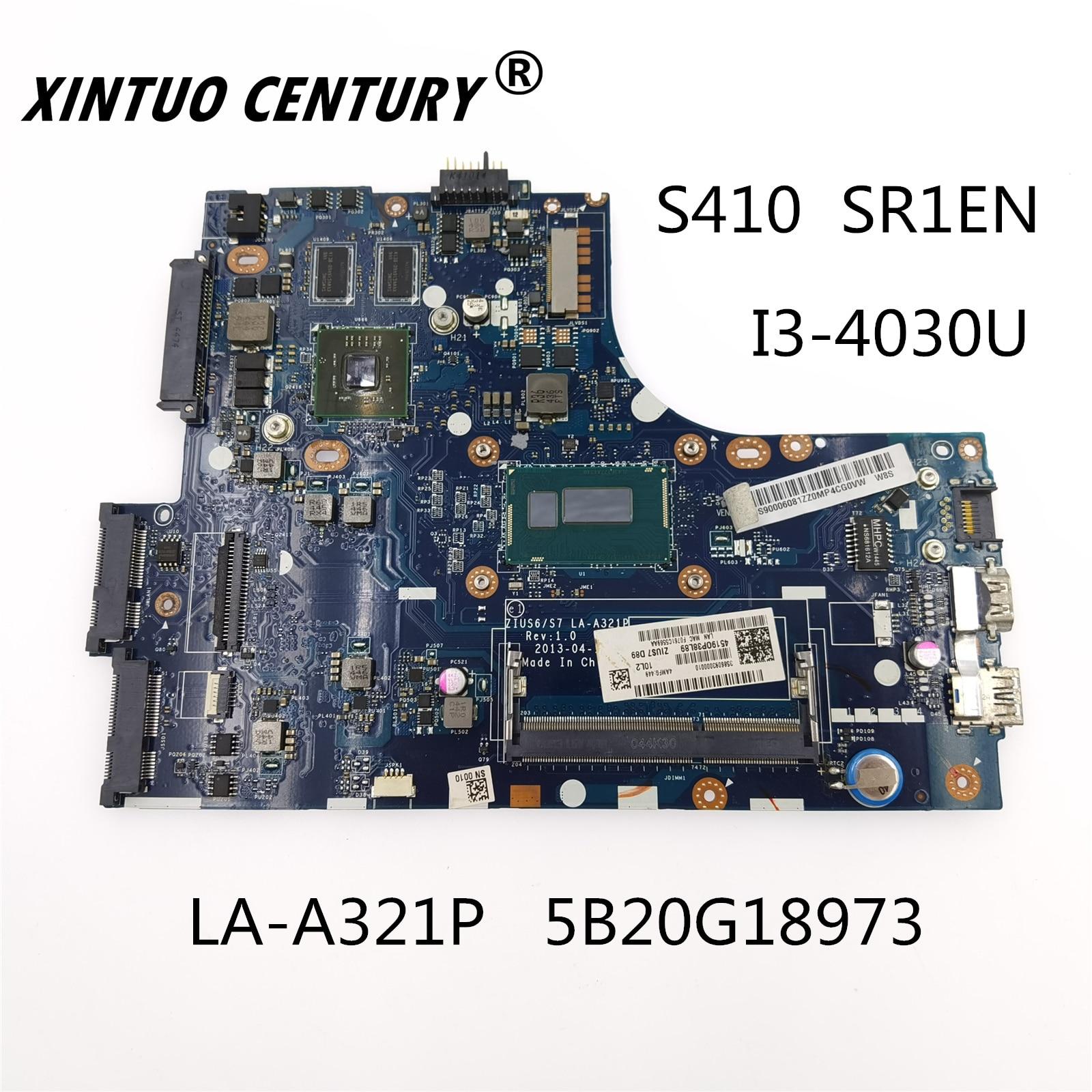 For Lenovo S410 placa-mãe LA-A321P 5B20G18973 SR1EN i3-4030 CPU DDR3 100% test