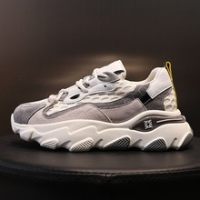 2021 New Women's Spring Platform Chunky Sneakers,Gray Black Sports Shoes,Comfort Casual High Sneaker