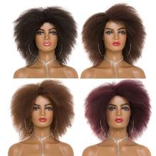 Afro Yaki-pelo negro Natural liso para mujer afroamericana, peluca corta, pelo sintético para Cosplay