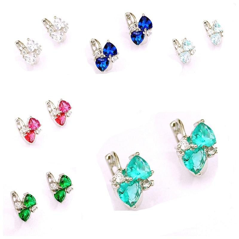 2 pcs Heart Stones Hoop Earrings Girl White Gold Color AAA CZ Circle Earring for Women Christmas Gift Earings