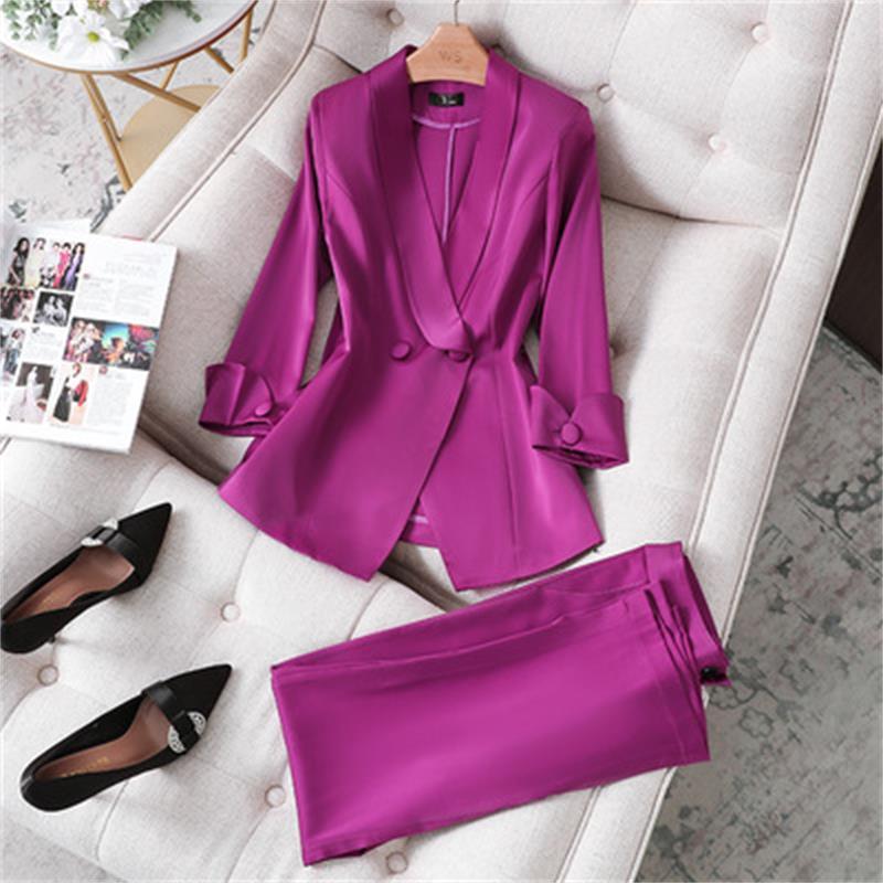 Summer autumn New Women Pant Two-piece Suit purple Blazer Jacket and Pants suit Office Wear Ladies Suits Female Sets size S-4XL
