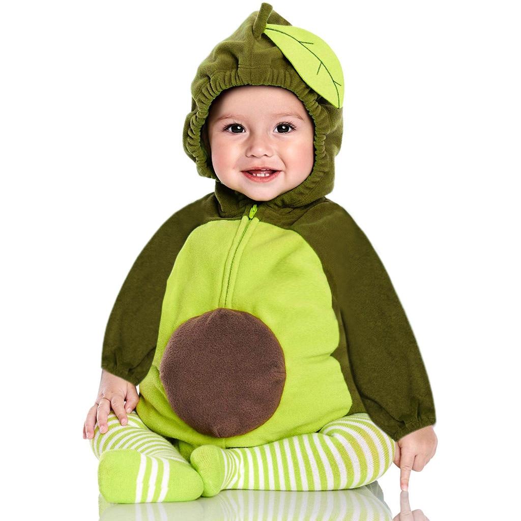 Осенний комбинезон авокадо для маленьких мальчиков и девочек; комбинезон с фруктами; комбинезон с капюшоном и длинными рукавами; Одежда для маленьких девочек; комбинезон; костюм