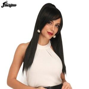 "Ebingoo 1b Long Straight Ponytail Wig Hair Clip with Side Bangs Black Synthetic Soft Heat Resistant Futura Fiber Wig Hair 22 """