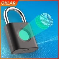oklar smart door padlock eletronic lock biometric fingerprint padlock smart home for luggage dormitory locker warehouse
