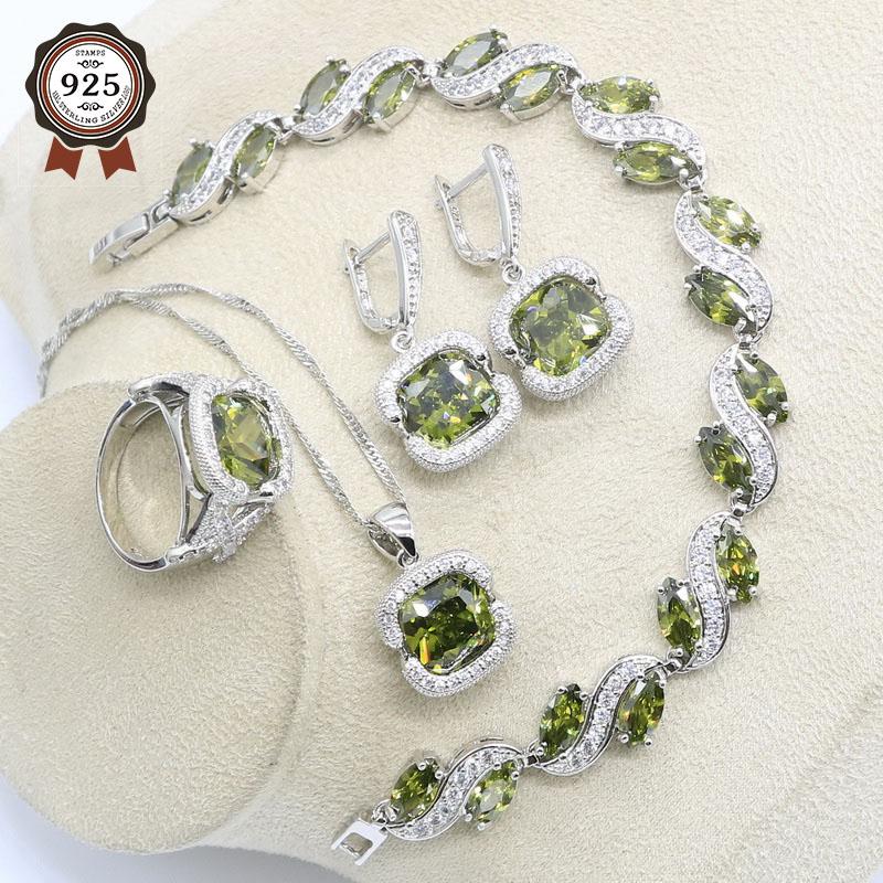 Green Peridot 925 Sterling Silver Jewelry Sets For Women Necklace Earrings Ring Pendant Bracelets Gift Box