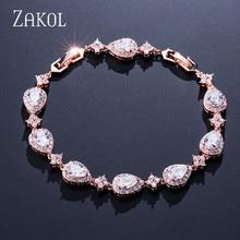 ZAKOL Trendy White Gold Color Cubic Zirconia Stone Big Water Drop Shape Bracelet & Bangle For Women Party Jewelry FSBP2014