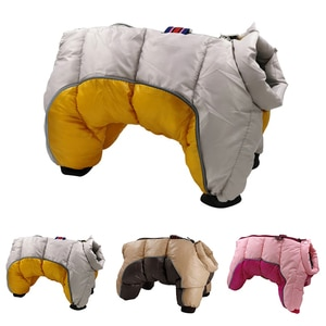 Winter Dog Clothes Thicker Cotton Pet Coat Waterproof Jumpsuit For Small Dogs Chihuahua Bulldog Four Legs Warm Jacket Clothing