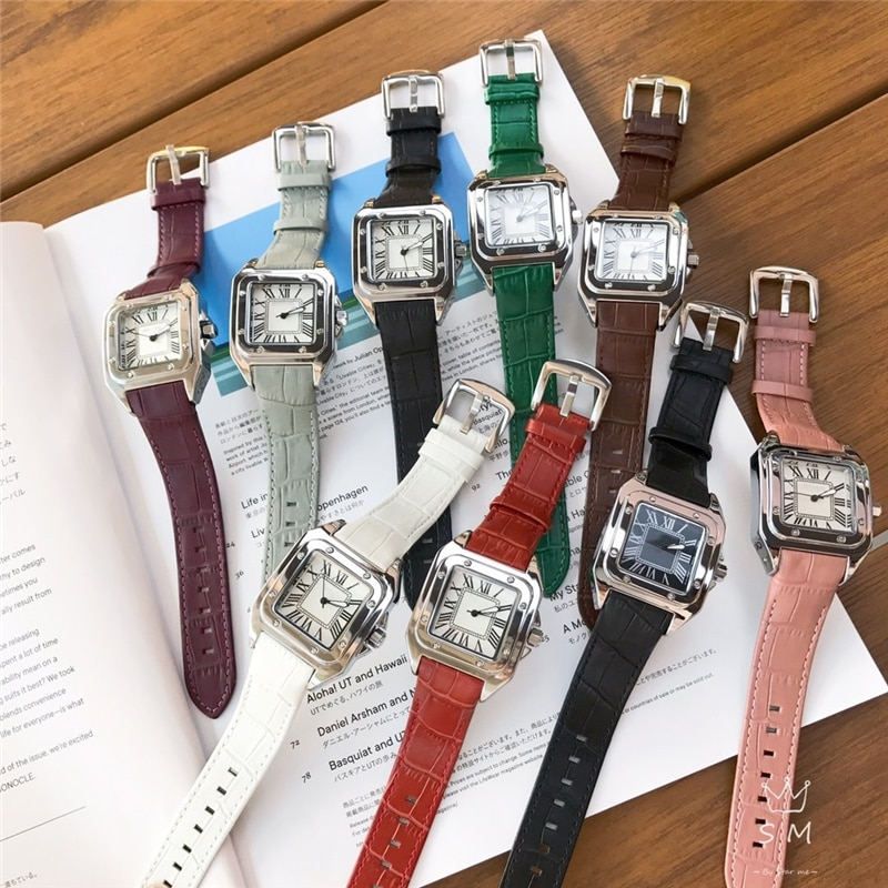 brand C quartz watches square watch genuine leather wrist watches for woman