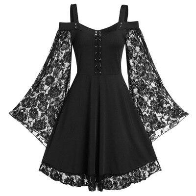 فستان قوطي عتيق مع أحزمة رفيعة للنساء ، ملابس مرقعة من الدانتيل ، مقاس كبير ، نمط قوطي عتيق