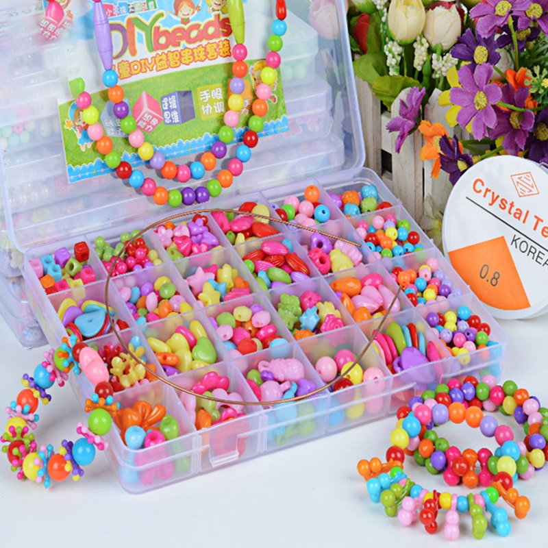 DIY Handmade Colorful Acrylic Beads Girls 24 Grid Jewelry Necklace Bracelet String Bead Puzzle Toy Childrens Toys