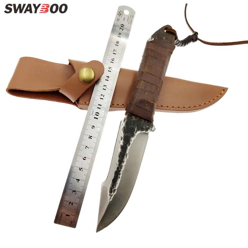 Swayboo une pièce en acier pur forgé à la main couteau de chasse survie en plein air haute dureté forte lame fixe couteau