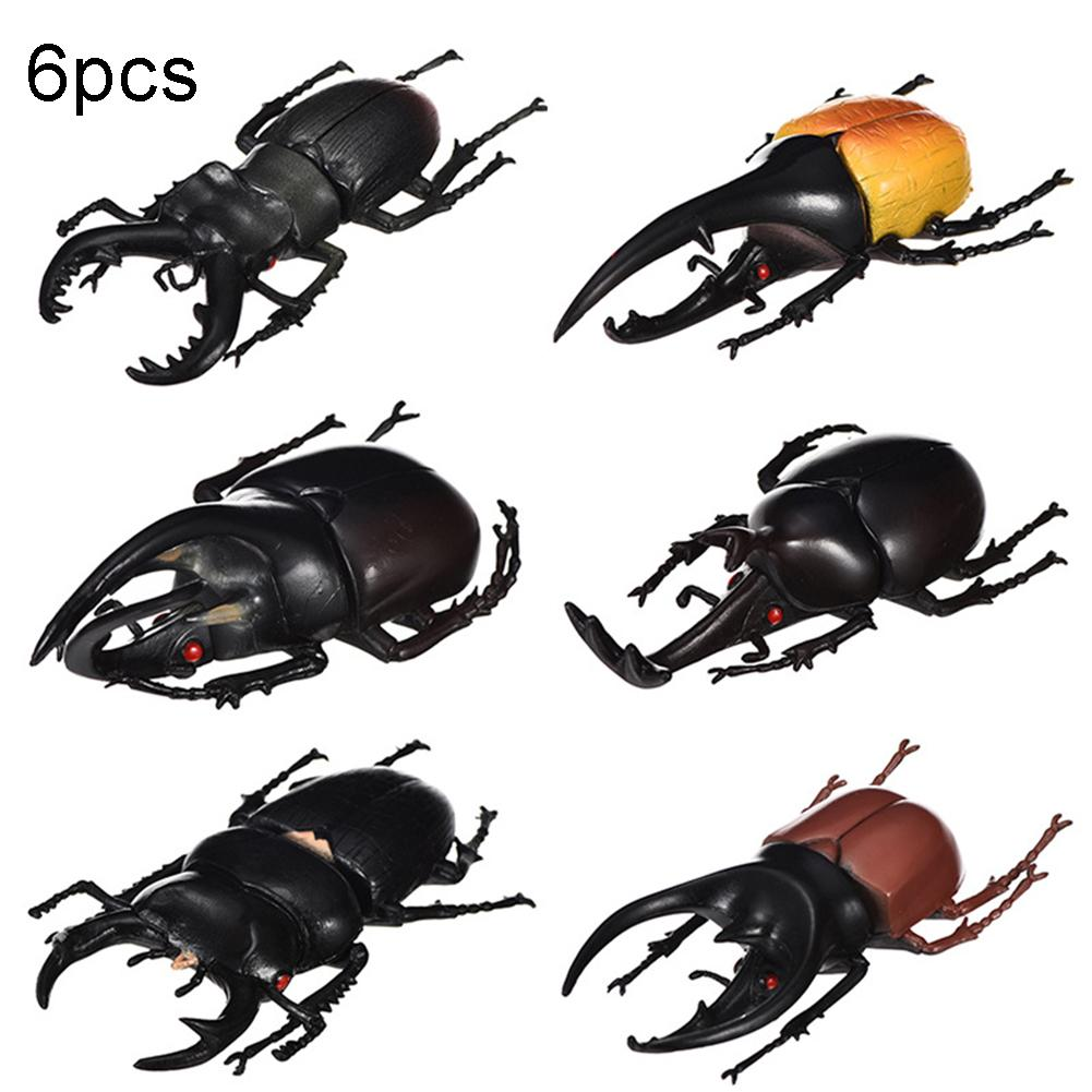 6Pcs Simulation Beetle Insect Model Kids Adult Toy Halloween Prank Trick Props Intelligence Develop Toys Early Learning toys недорого