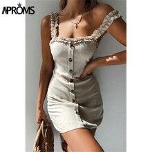 Aproms Sexy Back Tie Bow Summer Dress Women White Sundresses Elegant Buttons Cotton Dress Slim Bodycon Short Mini Dress Vestidos