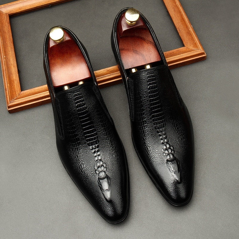 حذاء أكسفورد من الجلد الطبيعي للرجال ، حذاء رجالي بدون أربطة ، للعمل ، رسمي ، أسود ، كاكي ، صناعة يدوية