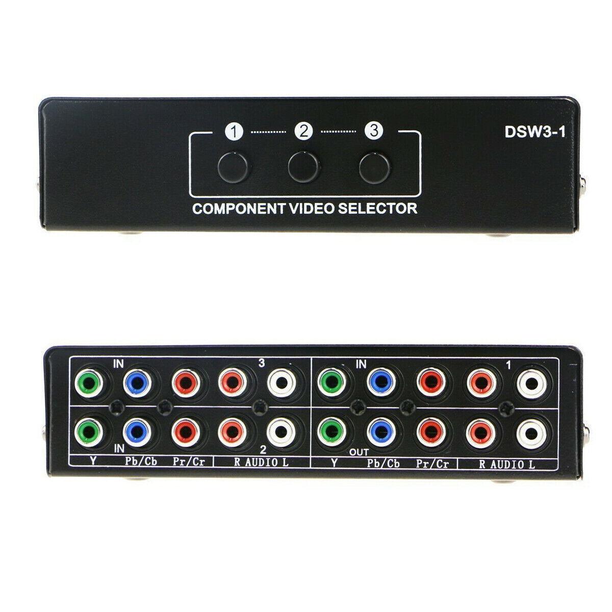 3-way Component AV Chave Seletora Switcher Saída para TV Xbox 360 Wii 3in1 PS2 PS3 Switch AV Componente selector 3 Corte 1 Saída