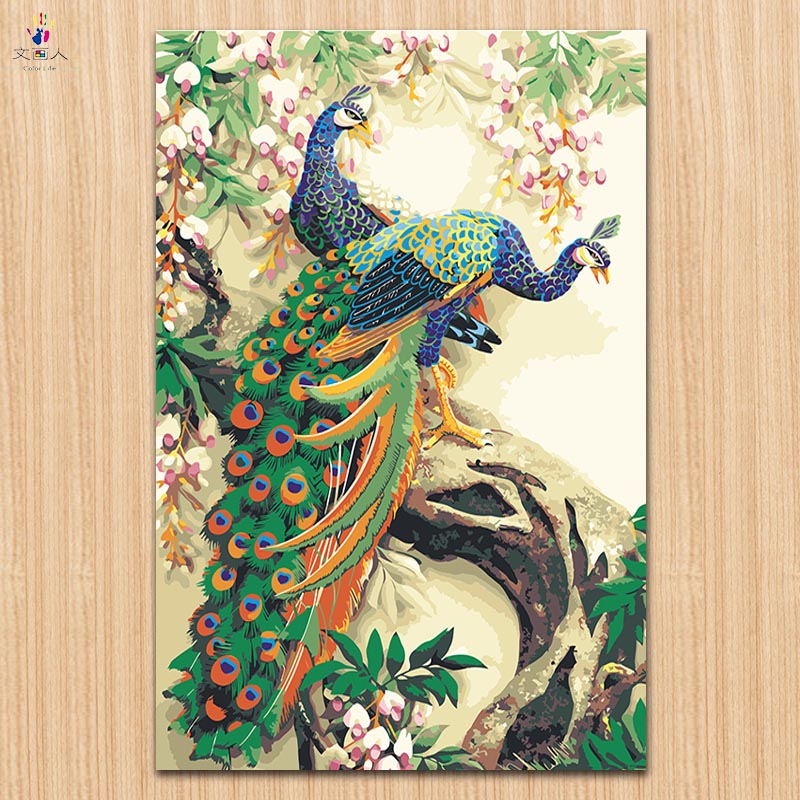 Diy塗料古典的な孔雀の写真数字による数字による中国動物キャンバス 30x45 40x50 50 × 60 ワンピース