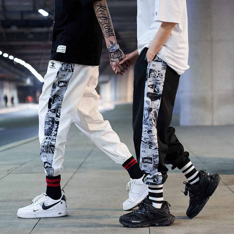 Mens side Anime Print Harem Pants for 2021 Fashion Trends Clothing Teens Hip Hop Trousers Japanese Streetwear Joggers Sweatpants