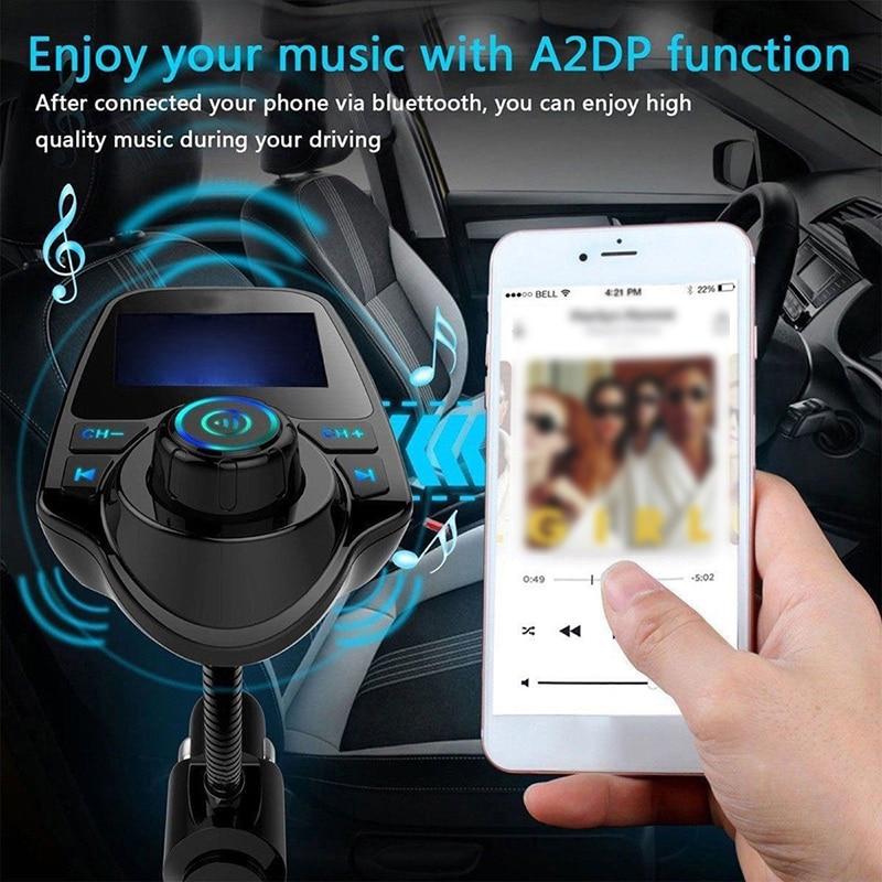 Transmisor FM inalámbrico en el coche con Bluetooth, adaptador de Radio MP3, Kit de coche, cargador de 2 USB